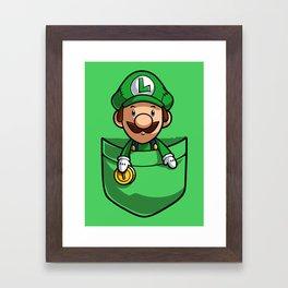 Pocket Luigi Super Mario T-Shirt Framed Art Print