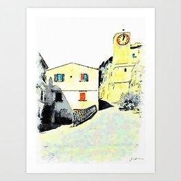 Bracciano: buidings and clock tower of the Anguillara village Art Print