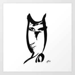 Owl - Fusion of pen strokes Art Print