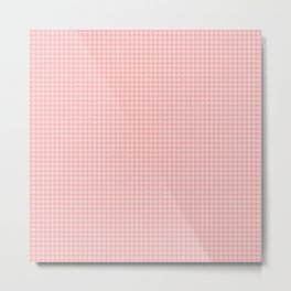Blush Pink Two Tone Hounds Tooth Check Metal Print