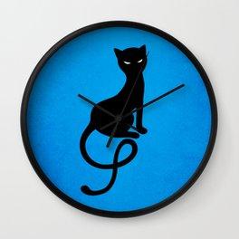 Blue Gracious Evil Black Cat Wall Clock