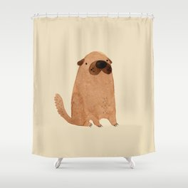 Brown Doggy Shower Curtain