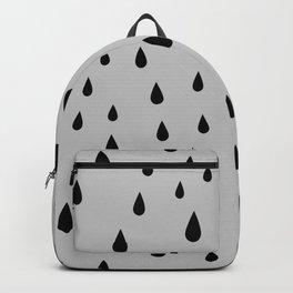 Black Raindrops pattern on Light Grey background Backpack