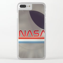 Vintage NASA Moon poster Clear iPhone Case