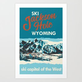 Ski Jackson Hole Wyoming Vintage Ski Poster Art Print