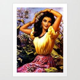 Mexican Beauty with Purple Flower by Jesus Helguera Art Print