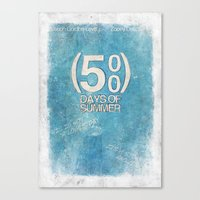500 days of summer Canvas Prints featuring 500 Days Of Summer by Alex Malyon