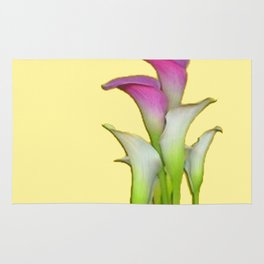 PURPLE & WHITE CALLA LILIES FLORAL YELLOW ART Rug