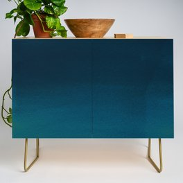 Navy blue teal hand painted watercolor paint ombre Credenza