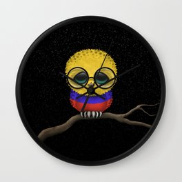 Baby Owl with Glasses and Colombian Flag Wall Clock