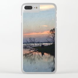 Island Sunset Silhouette Clear iPhone Case