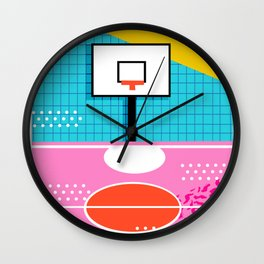 Ballin' - memphis retro neon trendy throwback sports basketball pop art Wall Clock