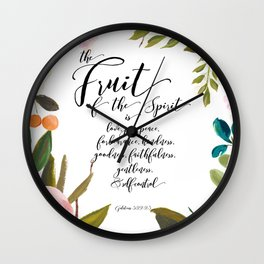 Fruit of the Spirit, blush pink floral palette Wall Clock