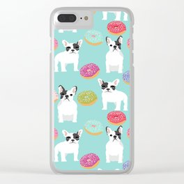 French Bulldog cute mint pastel cute donuts sweet treat doughnuts junk food dessert foods and dogs Clear iPhone Case