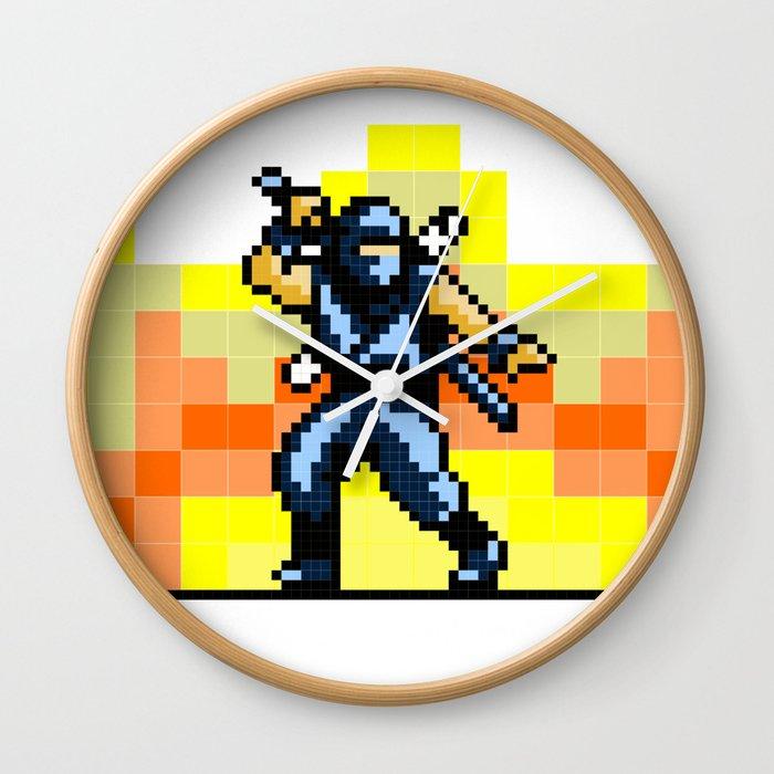 Ninja 8bit Wall Clock by bongonation   Society6