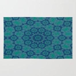 Jade , Aqua and Turquoise Symmetrical Pattern Rug
