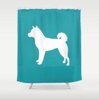 shiba Shower Curtains featuring Shiba Inu (Aqua/White) by Erin Rea