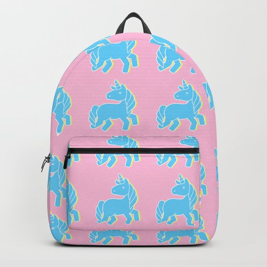 Blue unicorn in a pink world Backpack