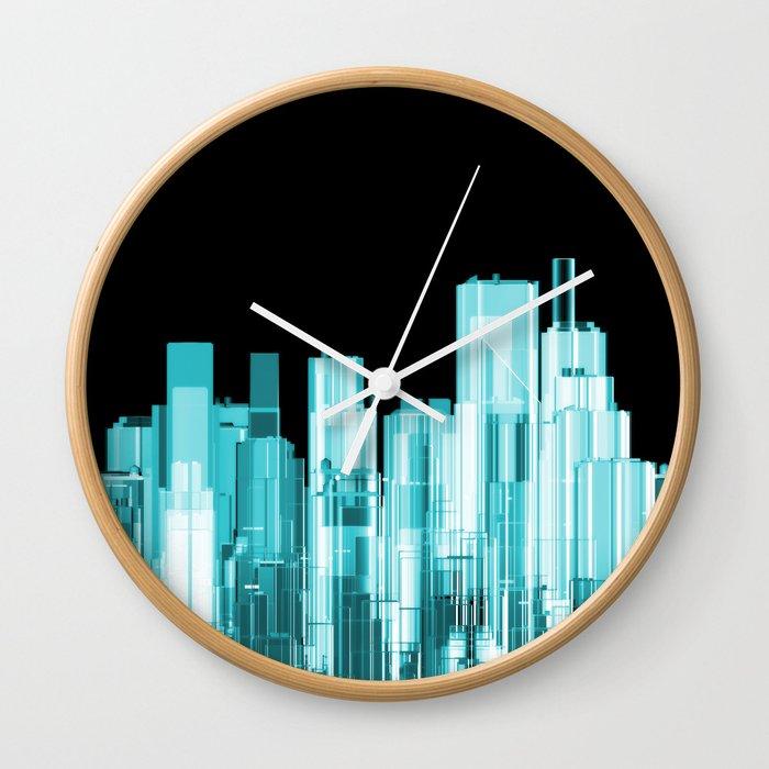Hologram city panorama Wall Clock
