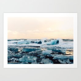 Waves Crashing on the Ice of Diamond Beach, Iceland at Sunset Art Print