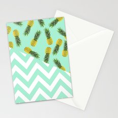 blue pineapple chevron Stationery Cards