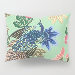 Peacock Floral in Mint Pillow Sham