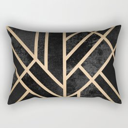Art Deco Black Rectangular Pillow