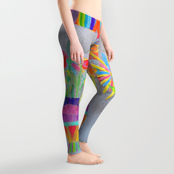 Flower Vase | Kids Painting | 3D Collage Leggings