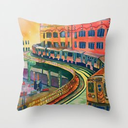 Brown Line to the Loop Throw Pillow