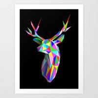 3D Stag Black Background Art Print