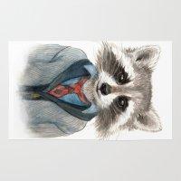 rocket raccoon Area & Throw Rugs featuring Raccoon by Leslie Evans