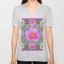 Modern Art Style Shasta Daisy Pink Roses  Grey color Abstract art Unisex V-Neck