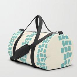 Turquoise irregular rectangles on beige Duffle Bag