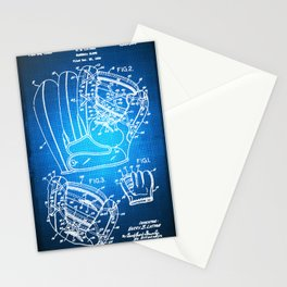 Baseball Glove Patent Blueprint Drawing Stationery Cards