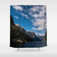 new zealand Shower Curtains featuring New Zealand by Michelle McConnell