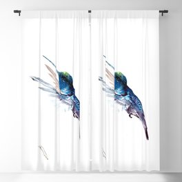 Hummingbird, Navy Blue Turquoise Artwork, minimalist bird art blue Blackout Curtain