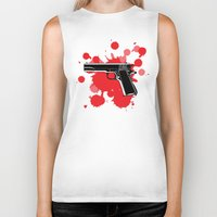 guns Biker Tanks featuring Guns Kill by DaceDesigns