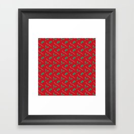 Holy Berry Merry Christmas on Red Framed Art Print