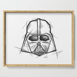 Darth Vader Handmade Drawing, Made in pencil, charcoal and ink, Tattoo Sketch, Tattoo Flash, Sketch Serving Tray
