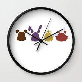a bear, bunny, chick and a fox Wall Clock