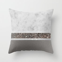 White Marble Silver Glitter Stripe Glam #1 #minimal #decor #art #society6 Throw Pillow