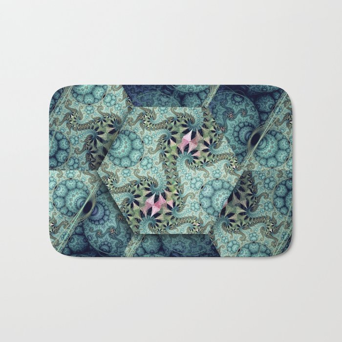 Amazing patterns in cubes and orbs Bath Mat