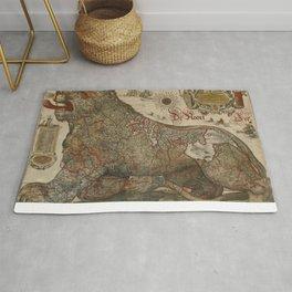 1611 Leo Belgicus by Jodocus Hondius Rug