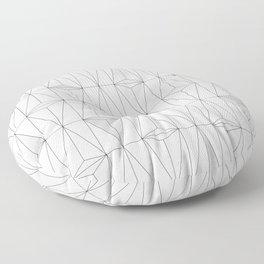 Metallic White Triangles on white Marble Floor Pillow