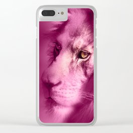 Fantasy Lion of Legend in Pink Clear iPhone Case
