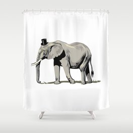 Elephant Wearing Tiny Top Hat Shower Curtain