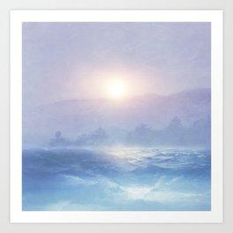 Pastel landscape & sunset Art Print