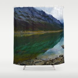 Reflections in Medicine Lake in Jasper National Park, Canada Shower Curtain