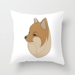 Pomeranian Spitz - one line drawing Throw Pillow