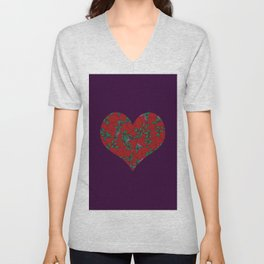 Strawberries Heart Purple Unisex V-Neck